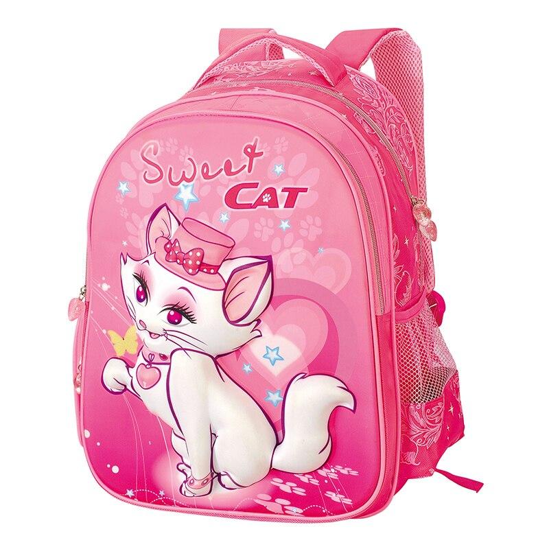 2017 Cat Cute Kids Children School Backpack Bags Bookbag Female School Backpacks for Teens Girls Student