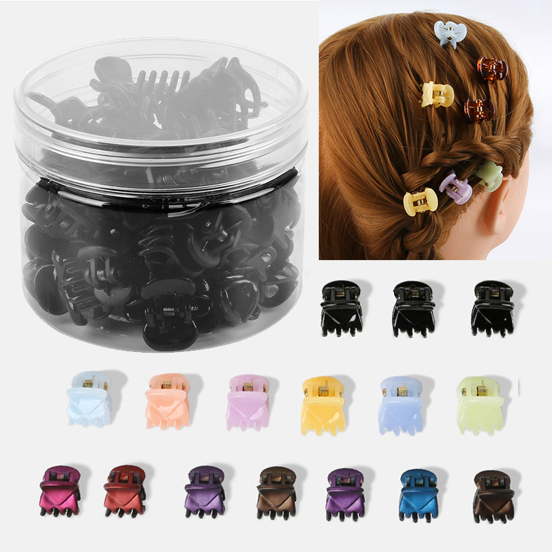 12-24Pcs/Box Black Mix Color Small Girl Baby Safe Plastic Hair Claw Clips Hairpins Girls Korean Style Hair Styling Accessories