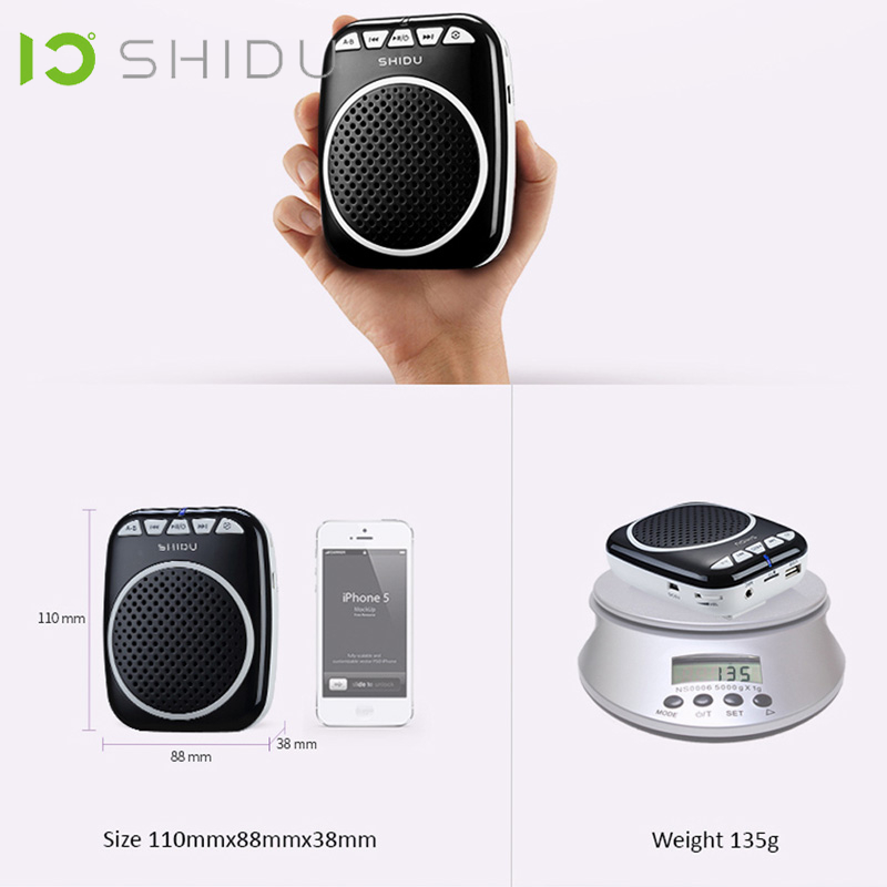Image 3 - SHIDU Portable Voice Amplifier Megaphone Mini Audio Speaker With Microphone Rechargeable Ultralight Loudspeaker For Teachers 308-in Portable Speakers from Consumer Electronics