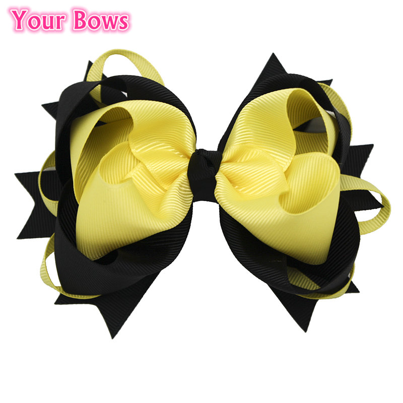 1 ST Big Lagen Boutique Haarelastiekjes 6 cm Haarspeldjes Zwart / Geel Bogen Grosgrain Lint Bows Hoofddeksels Meisjes Haaraccessoires