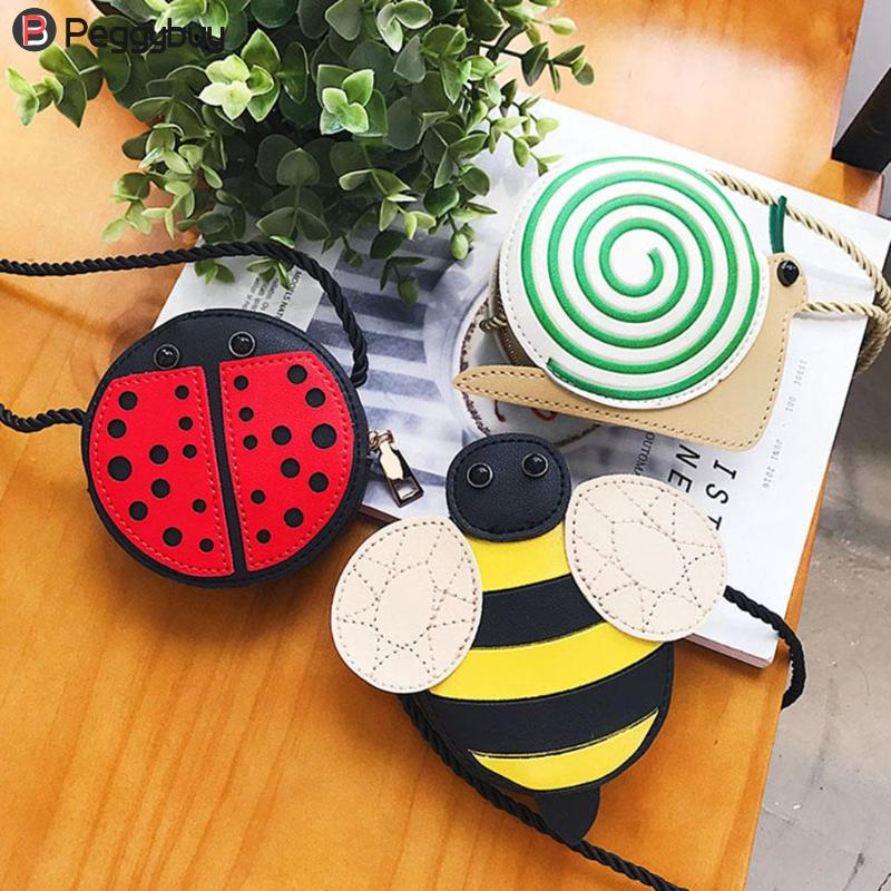 Cartoon Little Baby Girls Boys Messenger Bags Ladybug Mini Shoulder Bag Crossbody Kids Children PU Leather Purse Pouch Handbags qzh cartoon kids children mini bags fruit messenger bags coin purse pouch handbags for kindergarten baby girls boys shoulder bag