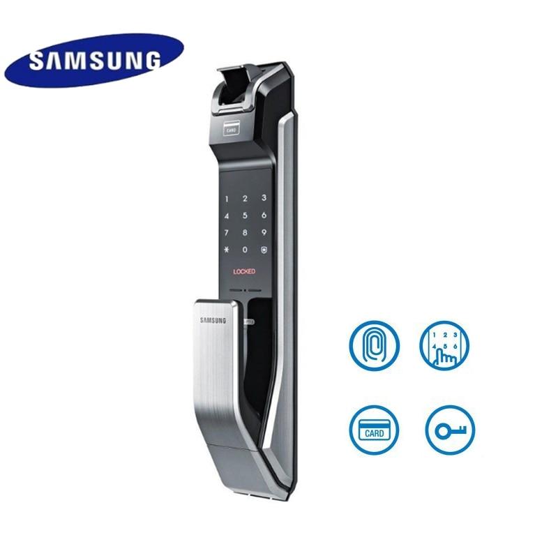 English Verion Big Mortise Samsung SHS-P718 Fingerprint Digital Door Lock / Push Pull Door Lock Silver Color беспроводной rfid модуль shs ast200 пульт shs darcx01 для управления дверным замком только для врезных замков