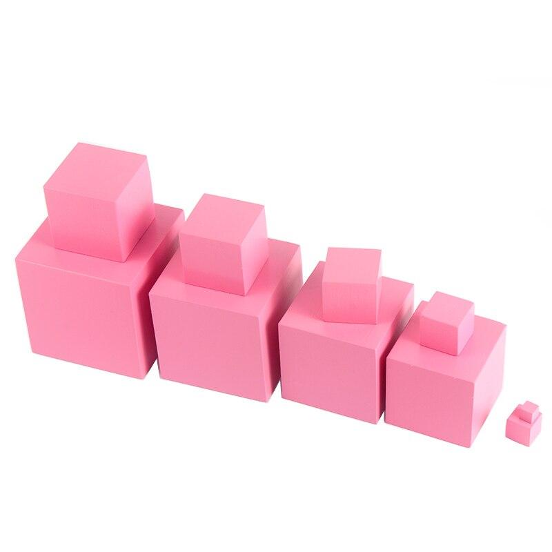 Juguetes de matemáticas Montessori de madera de alta calidad torre rosa Cubo de madera sólida 0,7-7 cm preescolar temprano regalo educativo del Día de los niños