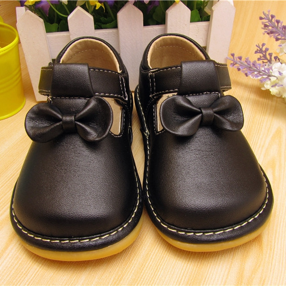 ФОТО 2016 sping autumn baby girl squeaky shoes black  butterfly-knot shoes