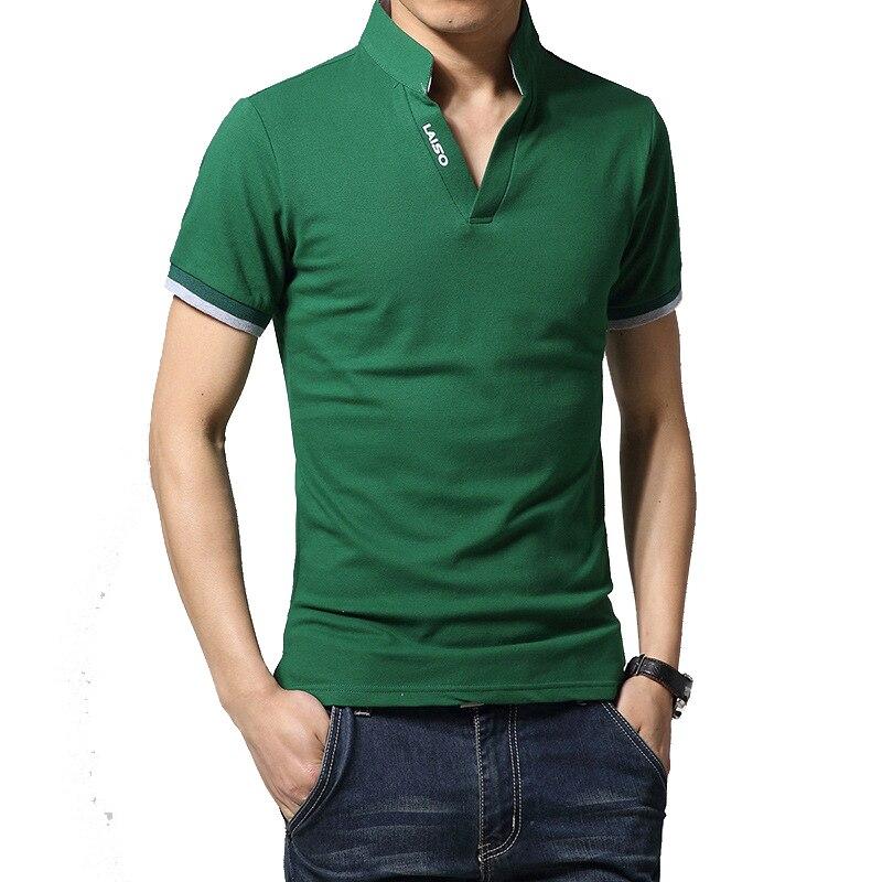 2017 Summer Men's T Shirt Solid Short Sleeve T Shirt Men LAISO Print V Neck Slim Fit Mens Top Tees Shirt M-5XL AYG249