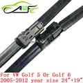"""Frete grátis universal car wiper blades para vw Volkswagen Golf 5 ou 6 (2005-2012) 24 """"+ 19"""" pressione o botão de ajuste Da Lâmina de limpador braço do limpador"""