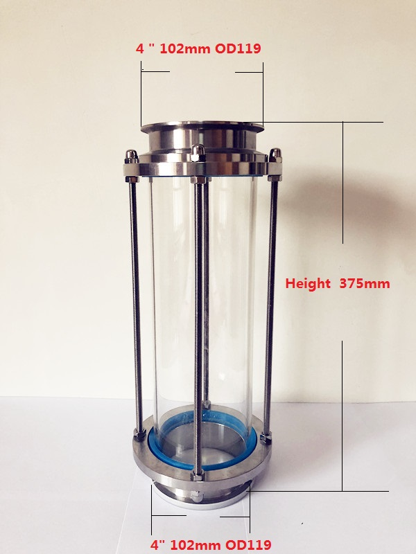 Long Style 4 102mm OD119 High Quality Flow Sight Glass Dioptr Length 375mm Sight Glass Tower
