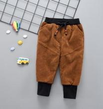 Children's Pants 2019 Winter Kids Clothes for 0-4 Y Striped Pants with Cashmere Baby Boy Girl Tethered Sports Pants SY-F185103