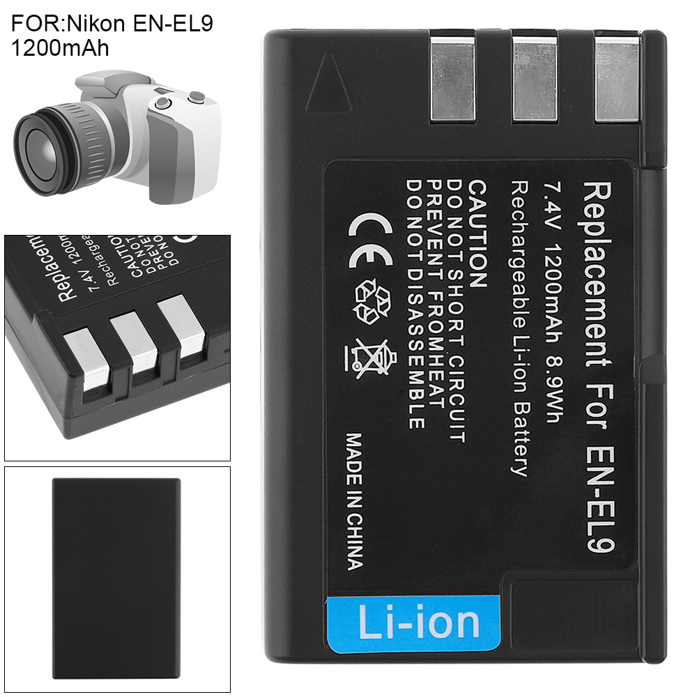 7.4V 1200mAh 8.9Wh EN-EL9 EN EL9A Li-ion Rechargeable Digital Camera Battery for Nikon DSLR D40 D40X D60 DSLR D3000 DSLR D5000