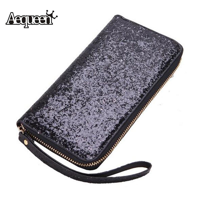 AEQUEEN Sequined Wallets Women Clutch Long Purse Shine Leather Wallet For Credit Card Holders Lady Summer Style Coin Purses