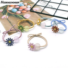 New Simple Hair Ring Jelly Color Beads small daisies double knot High Elastic Rope Rubber Scrunchies Sweet Hairgrip Accessories
