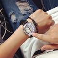 Normales de Cuero Minimalista Personalidad creativa A Prueba de agua Reloj LED Hombres Y Mujeres Pareja Reloj Inteligente Electrónica Relojes Casuales