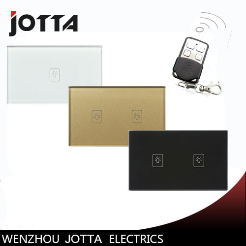 US-AU Standard 1 Way 2 Gang Ctystal Glass Panel Smart Touch Light Wall Switch Remote Controller White/Black/Gold 1 way 1 gang crystal glass panel smart touch light wall switch remote controller white black 160 250v ac best price