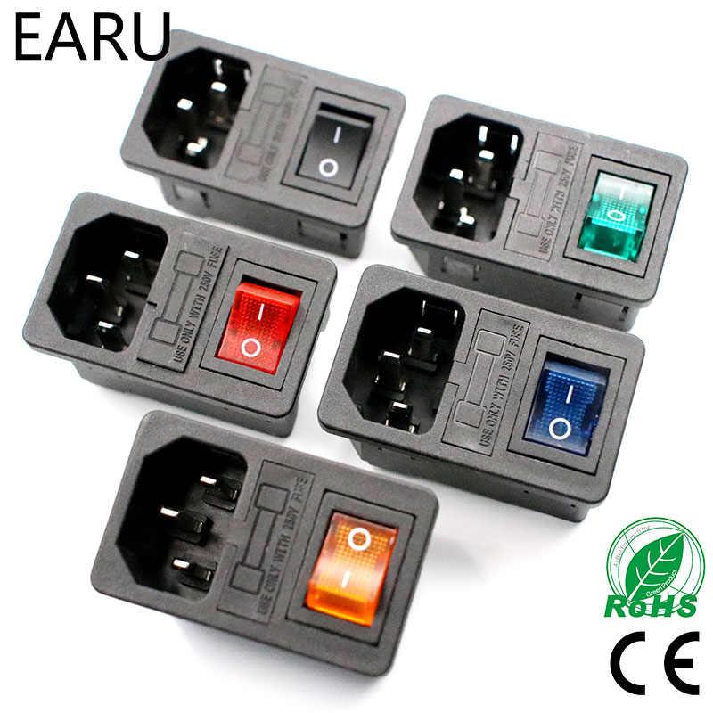 Dengan 10A Fuse! Red Rocker Beralih Menyatu IEC320 C14 Inlet Soket Sekering Beralih Konektor Plug Konektor Merah Hijau Biru Hitam