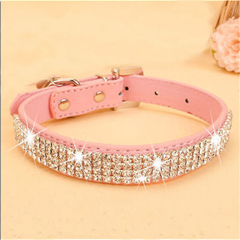 Bling Rhinestone Pu Leather Crystal Diamond Puppy Collar Pet Dog Collars Pink U