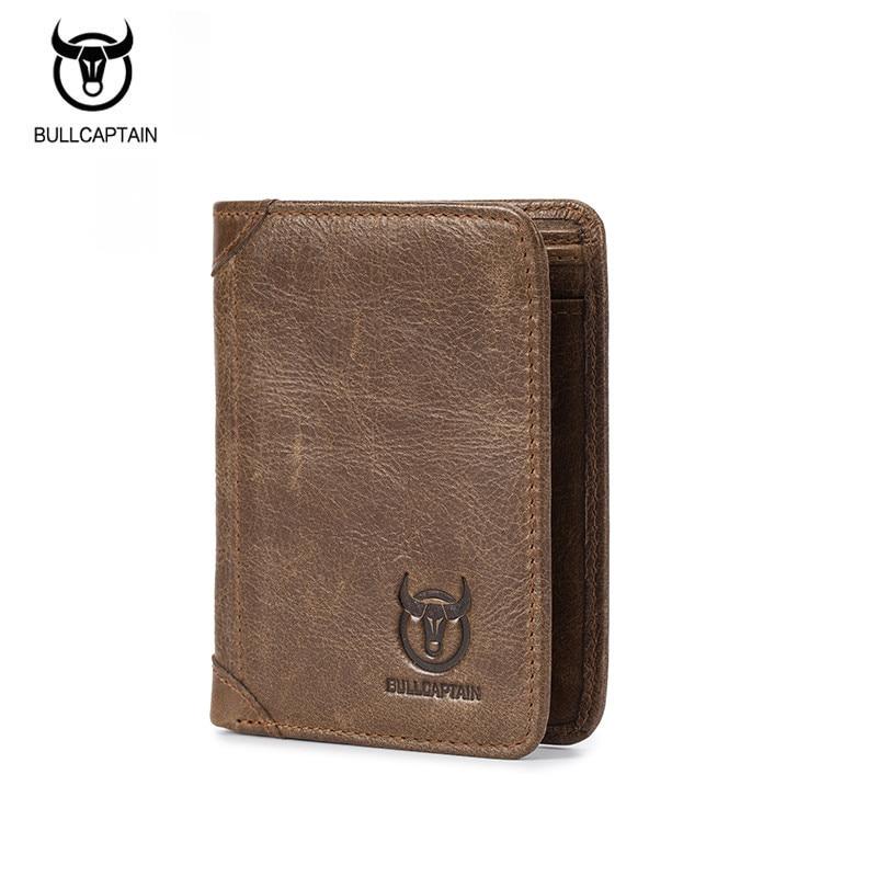 BULLCAPTAIN Wallet Men 100% Genuine Leather Short Wallet Vintage Cow Leather Casual Men Bifold Purses Standard Holders Wallets wallet