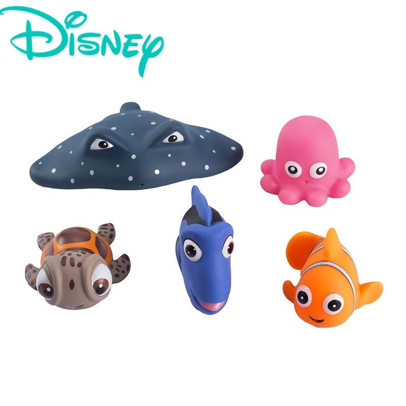 Disney 5 unids de goma suave dibujos animados encontrar Nemo ducha lavado agua Spray sonido antiestrés exprimidor juguetes de baño para niños bebés