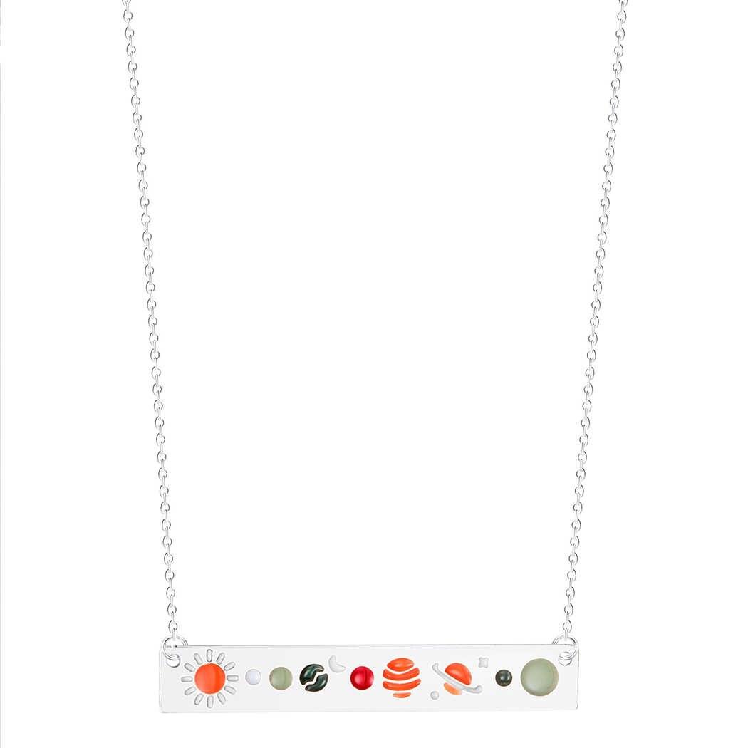 天文学月面月相ペンダントネックレス女性ギャラクシー宝飾品ステンレス鋼チョーカーチェーンバーネックレスビジューファム