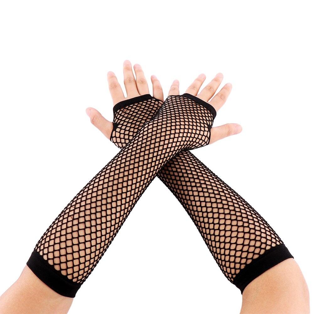 1 Pair Fashion Black Neon Fishnet Fingerless Long Gloves Leg Arm Cuff Party Wear Fancy Dress For Womens Arm Warmer|Women