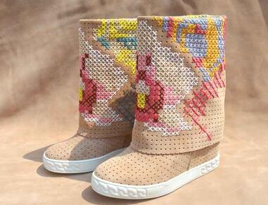 New Brand Women Round Toe White/Black/Nude/Blue Colorful Cross Stitch 8 cm Height Increasing Wedge Heels Mid-calf Short BootsNew Brand Women Round Toe White/Black/Nude/Blue Colorful Cross Stitch 8 cm Height Increasing Wedge Heels Mid-calf Short Boots