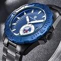 Часы мужские  модные  механические  водонепроницаемые  из нержавеющей стали