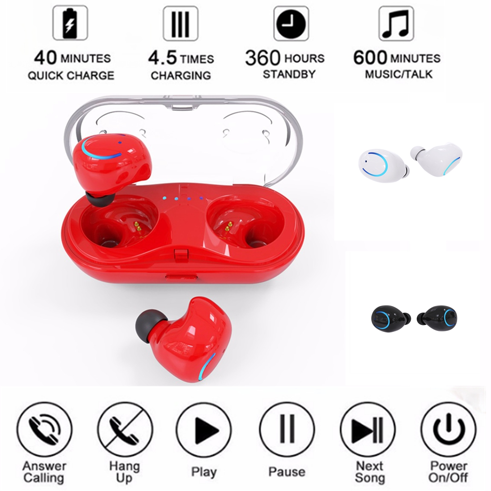 1 Pair Mini Wireless Bluetooth V4.2+EDR Earphone HiFi Earbud In-Ear Stereo TWS Music Mobile Headset With Charger Box HBQ-Q18