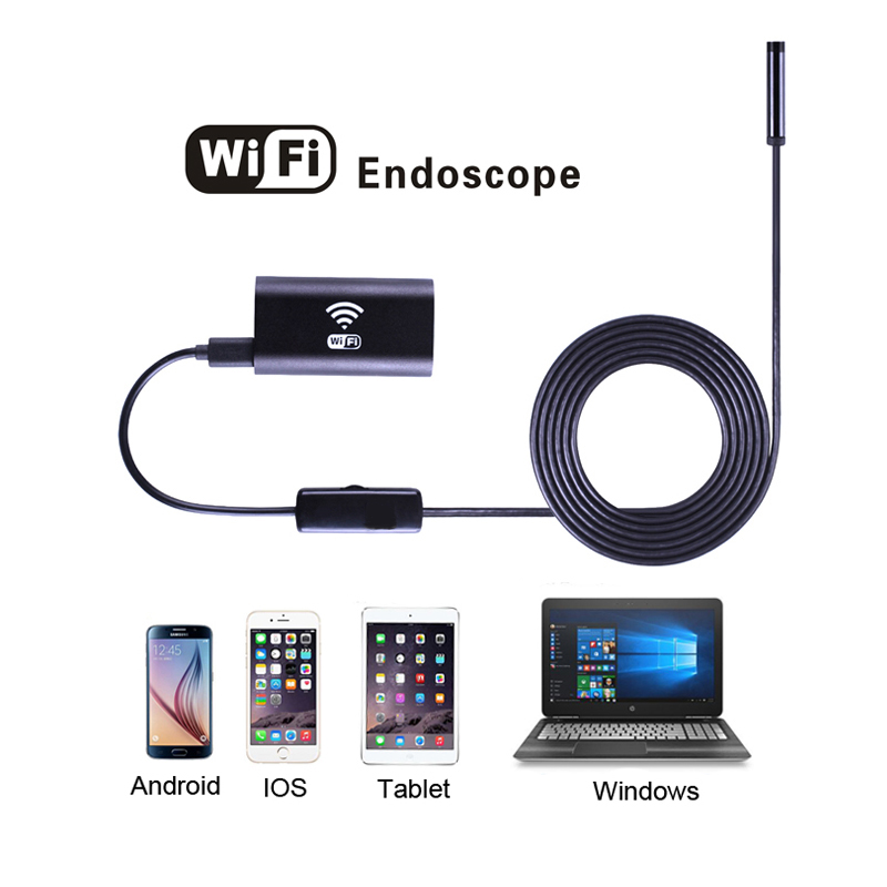 8mm Lens HD 720P Wifi Endoscope Camera with 1m 2m 3.5m 5m 10m Soft&Hard Wire Waterproof inspection Camera for Android IOS iPhnoe