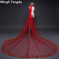 Red Sequins Lace Cathedral Veil 3 M Long Wedding Veil with Metal Comb Mingli Tengda One Layer Widen Luxury Bridal Blusher Veil