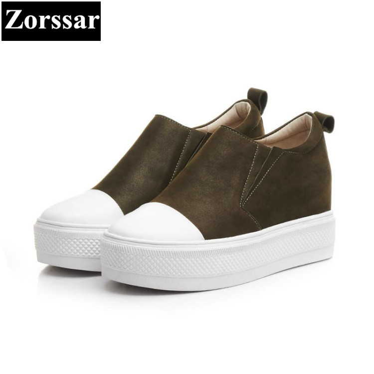 {Zorssar} women wedges high heels platform pumps Fashion Casual Genuine Leather slip-on round toe womens height increase shoes 2017 new women s genuine leather pumps female casual shoes sexy lady medium heels fashion high wedges platform flower slip on