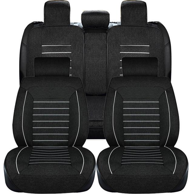 Black Linen Fabric Car Seat Cover Set Sedans Covers For Universal