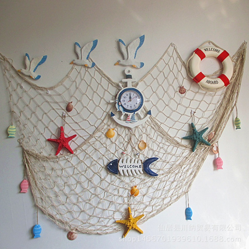 Home The Mediterranean Sea style Wall Stickers big fishing net decoration home decoration wall hangings