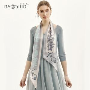 Image 5 - [BAOSHIDI] 2019 Moda Primavera Duplo Rosto Magro, 100% Fita de cetim de Seda, Lenço Elegante, acessório do cabelo senhora cachecol mulheres
