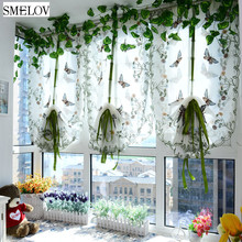 цены Roman Shades Window Curtain Blinds Butterfly Tulle for Window balcony Embroidered Sheer Screening for Living Room Kitchen Panel