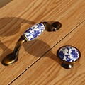 "76mm retro blue and white porcelain dresser kithcen cabinet door handles 3"" bronze coffee drawer tv table knobs pulls handles"
