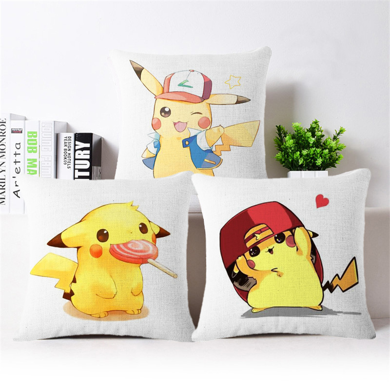 2016 High Quality Fashion Pokemon Cushion Cover Scandinavian Standard Linen Pikachu Pillowcase Home Decorative Sofa Cushion