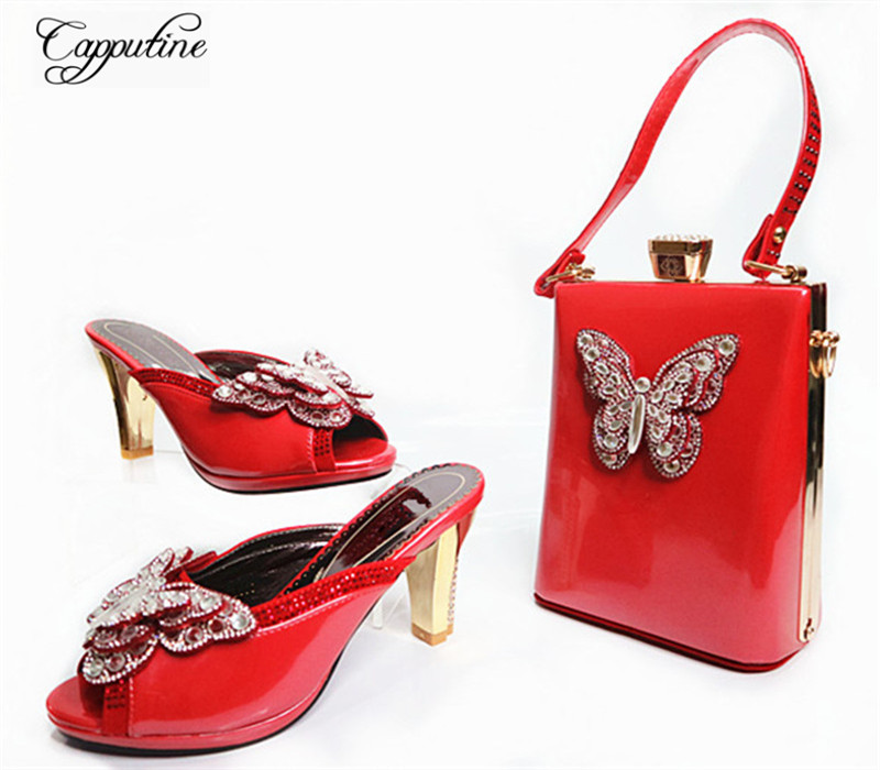 Capputine New Fashion PU Leather Woman Shoes And Mini HandBag Set Italian Style Woman Pumps Shoes And Matching Set For Party G32 capputine new arrival fashion shoes and bag set high quality italian style woman high heels shoes and bags set for wedding party