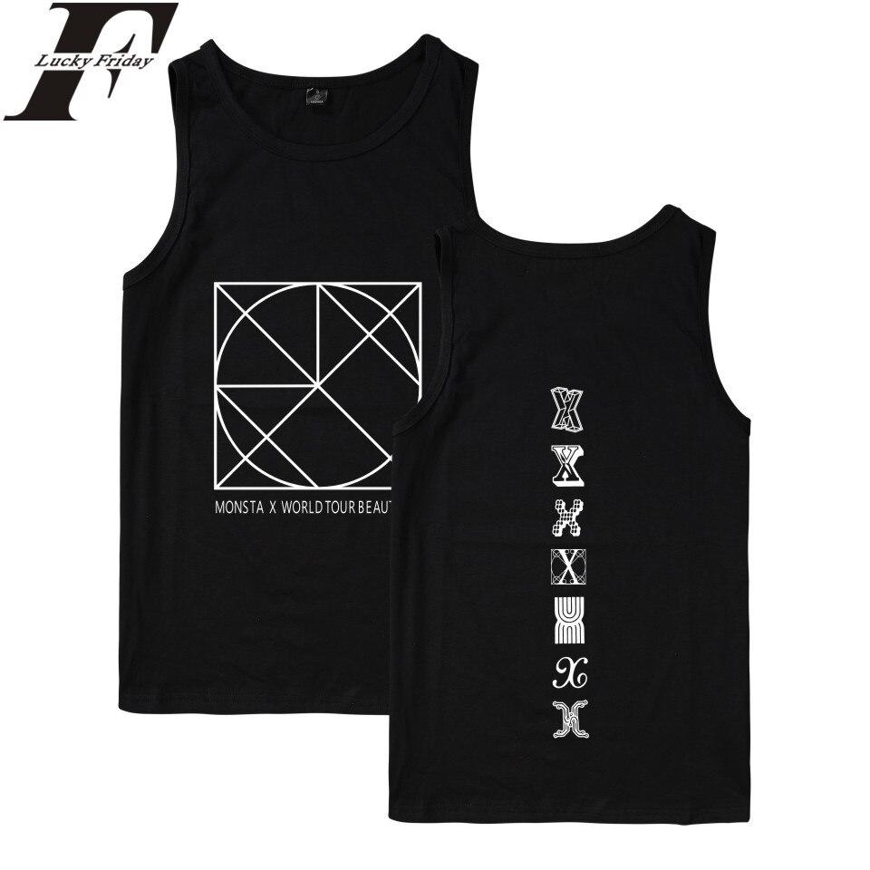 LUCKYFRIDAYF 2017 MONSTA X Kpop   Tank     Tops   Men/Women Summer Exercise Hot Casual   Tank     Top   Women Fashion Korean Style Casual Vest