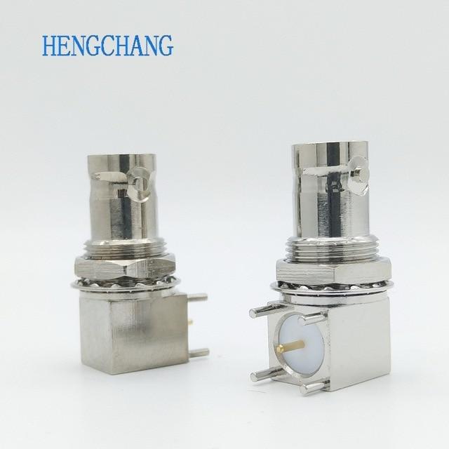 10 Cái/lốc 5pin Đồng Mạ Nickel RF Đồng Trục Nối BNC Cái Ổ Cắm Vách Ngăn Góc PCB Gắn Đầu Nối BNC