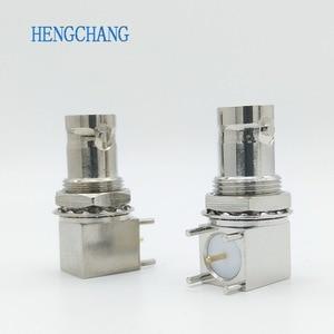 Image 1 - 10pcs/lot 5pin copper plating nickel RF Coaxial Connector BNC Female socket bulkhead Right Angle PCB Mount BNC Connector