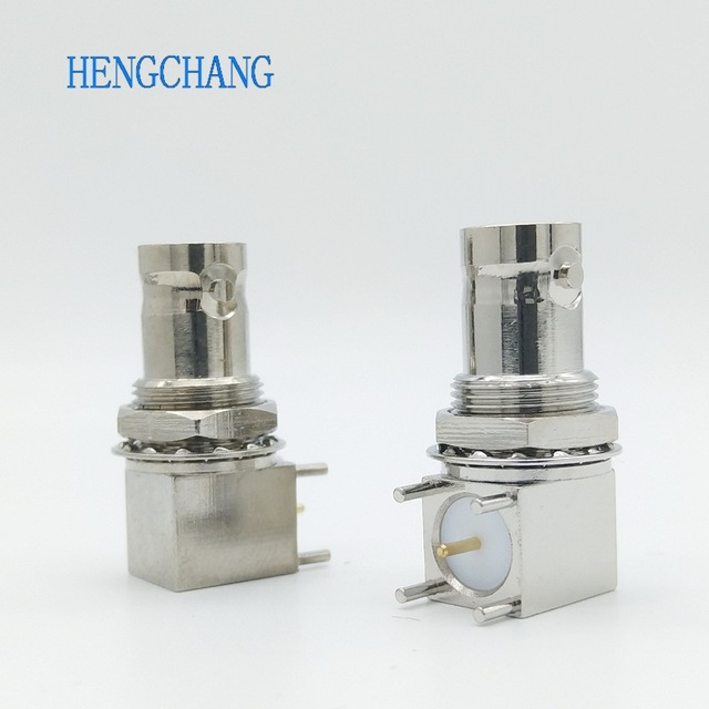 10pcs/lot 5pin copper plating nickel RF Coaxial Connector BNC Female socket bulkhead Right Angle PCB Mount BNC Connector