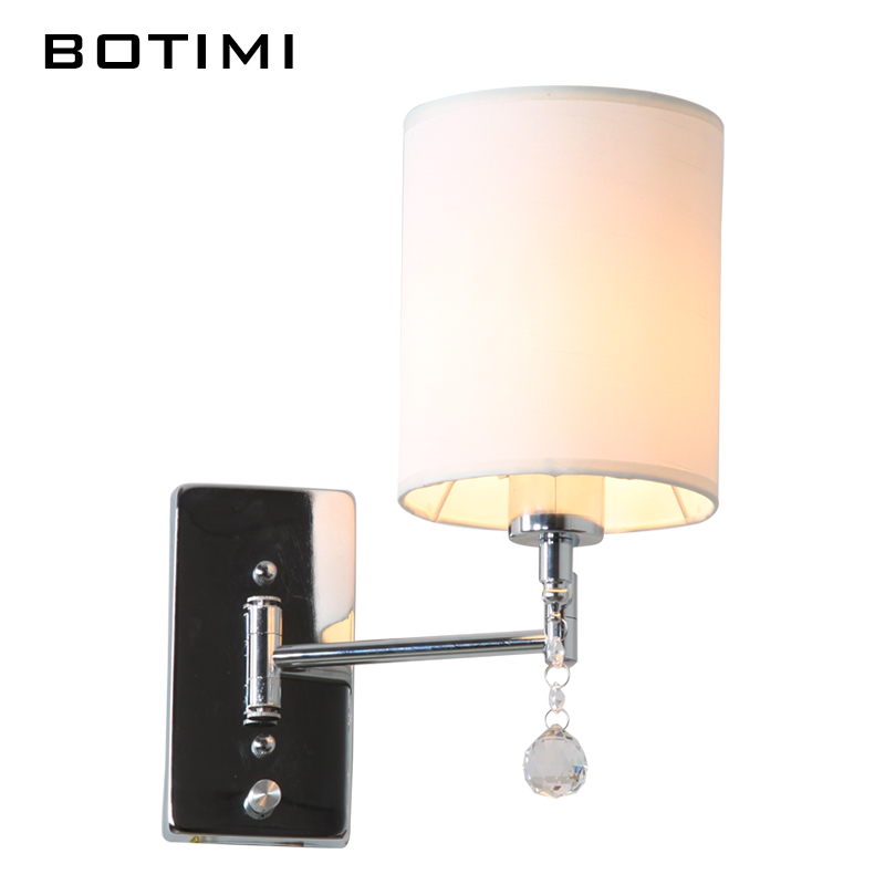 ФОТО Crystal and fabric lampshade wall sconce modern bedroom light American style study lighting for living room balcony stairway