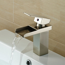 Free Shipping Deck Mount Single Handle Waterfall Brushed Nickel Basin Faucet Single Hole Hot Cold Water