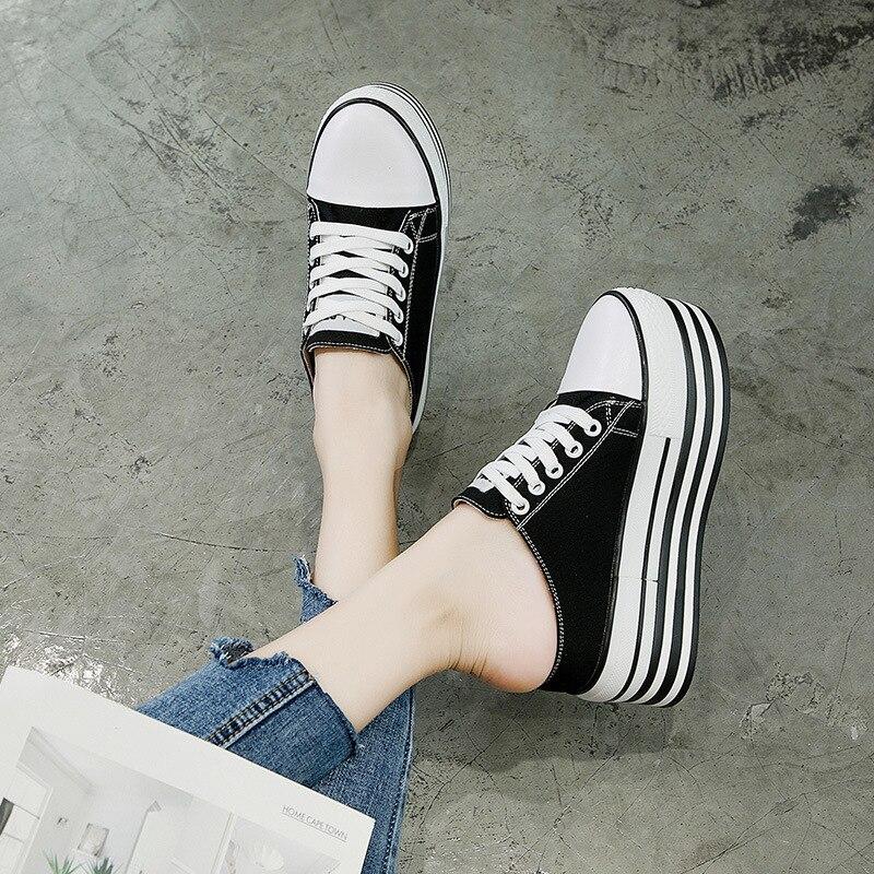 Schuhe Preiswert Kaufen Frauen Leinwand Schuhe Lace-up Casual Schuhe Flache Plattform Keil Schuhe Höhe Zunehmende Sommer Turnschuhe Frau Faulenzer Hausschuhe Mc-03 Quell Sommer Durst