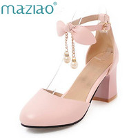 MAZIAO Ladies Shoes Women Thick High Heels Spring 2018 Shoes Pumps Ankle Strap Two Piece Bow Party Shoes Pearls Pink Size 33 43