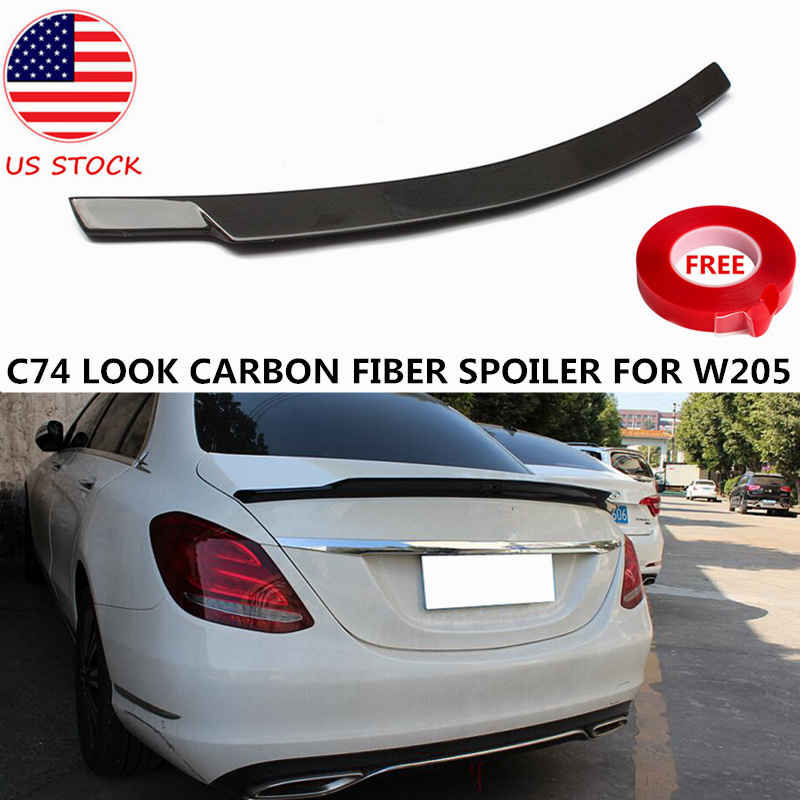 Bat-Styling C74 Style Carbon Fiber Spoiler For <font><b>Mercedes</b></font> C Class W205 4-DR Sedan 2-DR <font><b>Coupe</b></font> C200 C250 <font><b>C300</b></font> Rear Spoiler 2015+ USA image