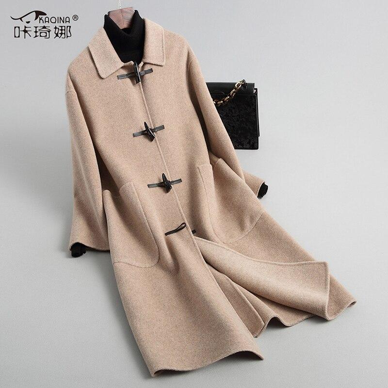 Automne gray 2018 Vêtements Femme Vintage Élégant Femmes Double face Hiver Manteaux camel Beige Coréen green Manteau Zl491 De Longue Laine BxCrwBTq