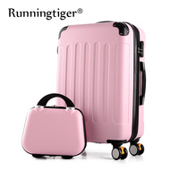 Rolling luggage 2PCS 14+24 26 suitcase trolley ABS + PC travel bag suitcase student password box ladies carry on cosmetic case