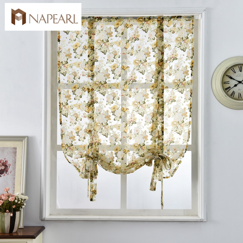 Roman Curtains Cafe Style Short Doorcurtains Tulle Fabrics Sheer Panel Modern Curtains For Kitchen Flower Window Treatment Voile