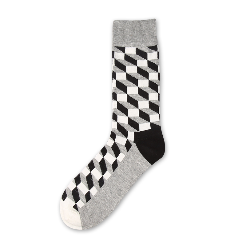 VVQI2018 men sock Harajuku Square plaid colorful mens long socks cotton fashion Dress socks hip hop 4 pairs funny socks fashion