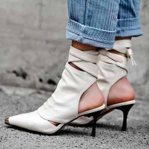 Image 2 - Krazingหม้อ2020ของแท้หนังข้อเท้าLace Up Stilettoรองเท้าส้นสูงรองเท้าฤดูร้อนรองเท้าส้นสูงหรูหราPointed Toeรองเท้าฤดูใบไม้ผลิl30